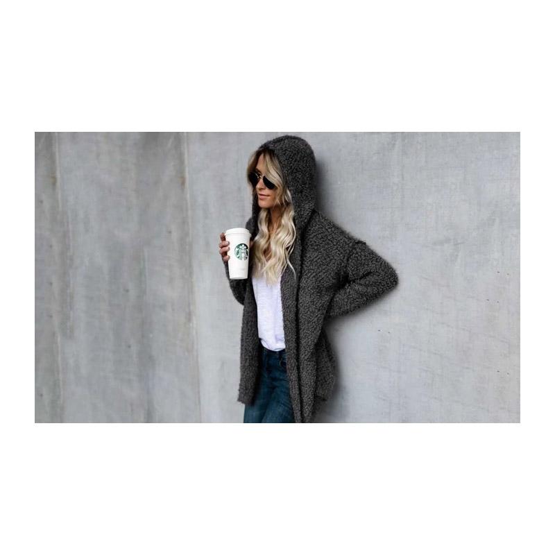 Γυναικεία Χνουδωτή Ζακέτα με Κουκούλα Χρώματος Σκούρο Γκρι Medium SPM DB3978