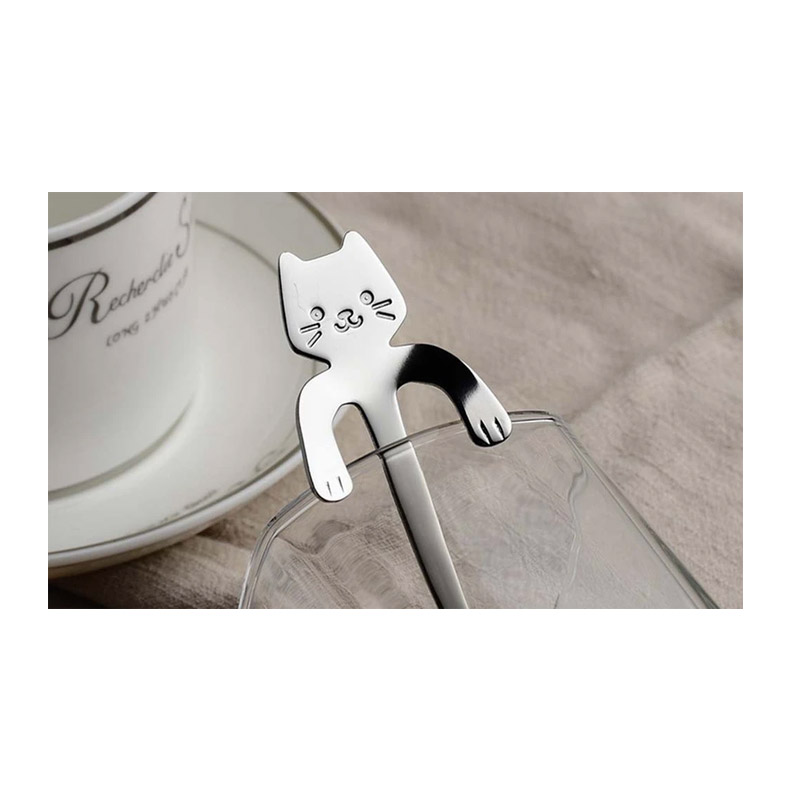 Σετ Κουταλάκια Τσαγιού σε Σχήμα Γάτας 3 τμχ Χρώματος Ασημί SPM DB7429