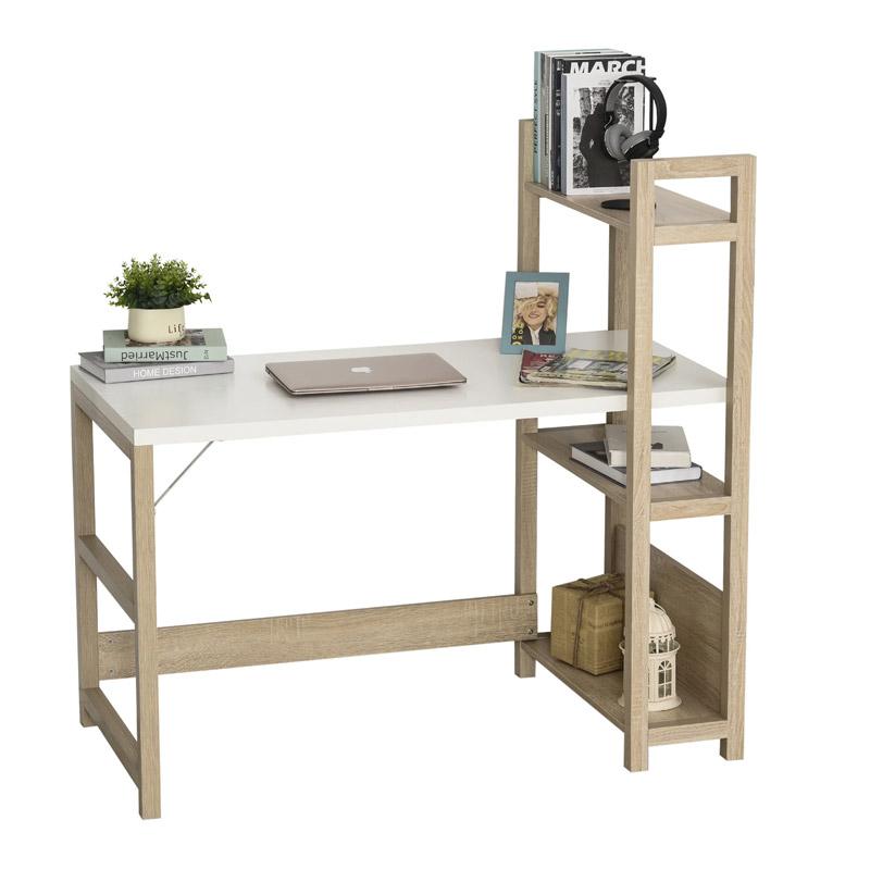 Ξύλινο Γραφείο με Βιβλιοθήκη 120 x 60 x 120.5 cm Χρώματος Λευκό HOMCOM 836-242WT