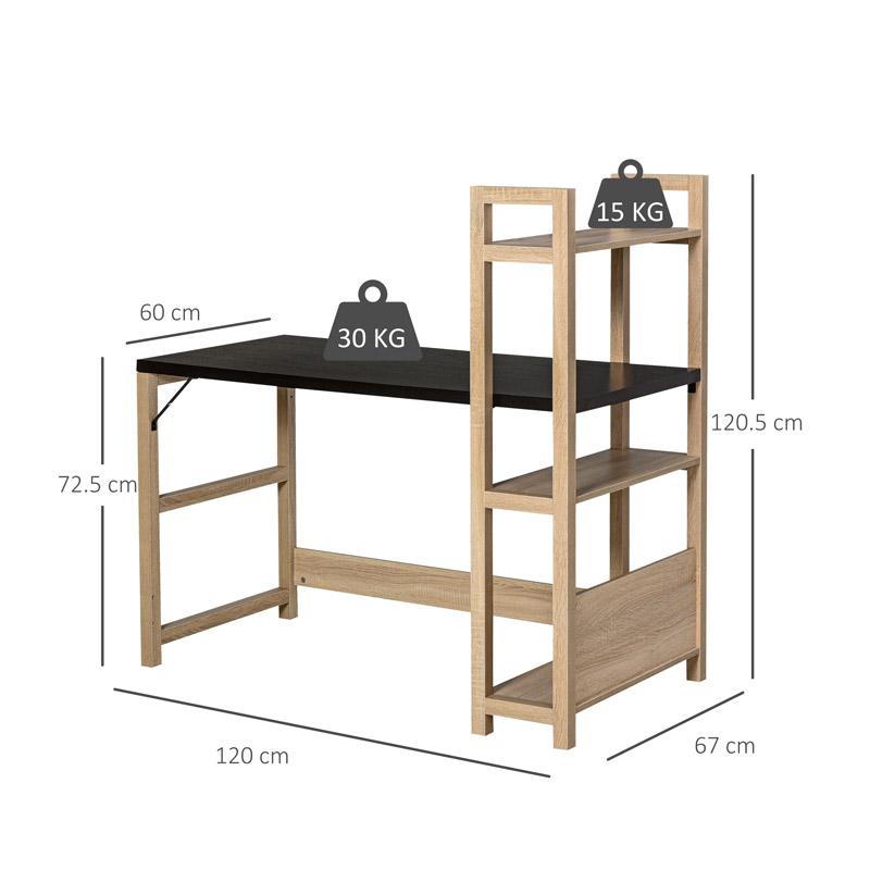 Ξύλινο Γραφείο με Βιβλιοθήκη 120 x 60 x 120.5 cm Χρώματος Μαύρο HOMCOM 836-242