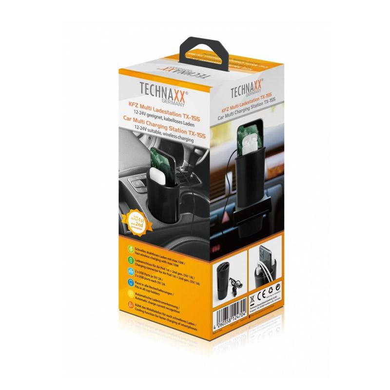 Πολλαπλός Φορτιστής Αυτοκινήτου με Ασύρματη Φόρτιση και 2 Θύρες USB Technaxx TX-155