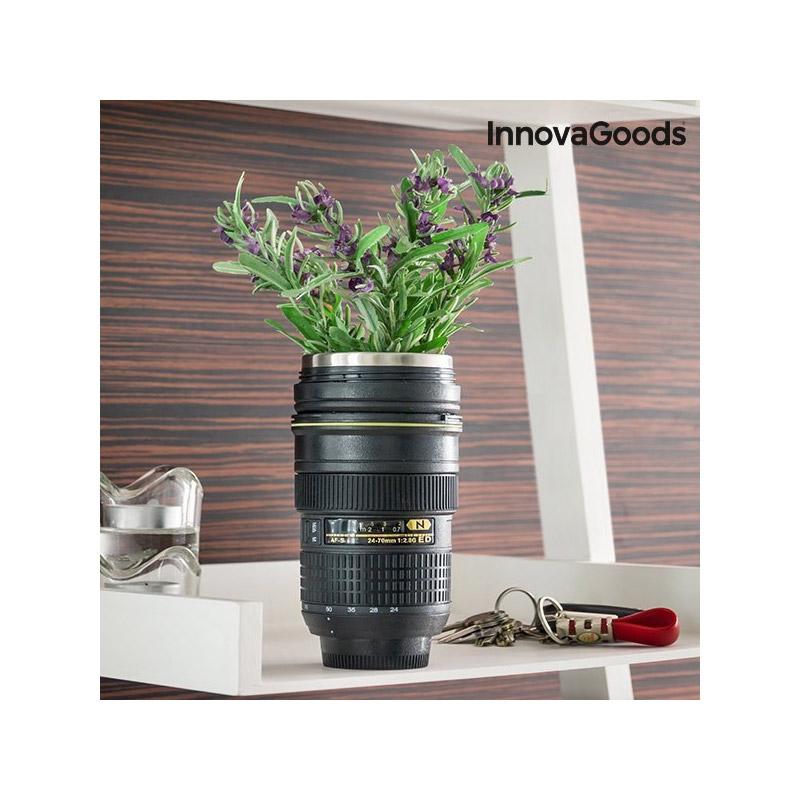 Θερμικό Ποτήρι Φακός Φωτογραφικής Μηχανής με Καπάκι Πολλαπλών Χρήσεων InnovaGoods V0100509