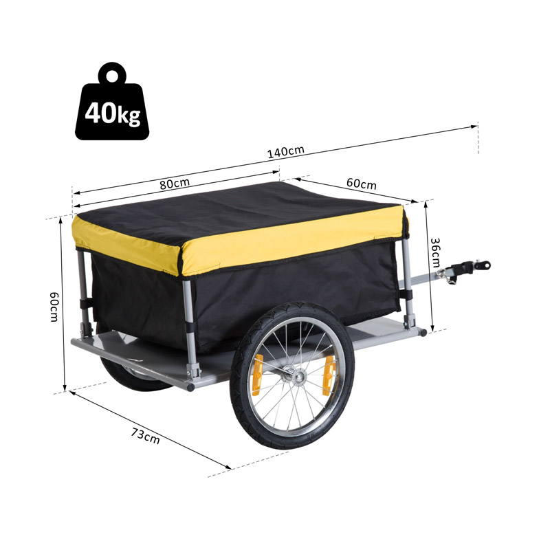 Αναδιπλούμενο Τρέιλερ Ποδηλάτου για Φορτία από Ατσάλι 140 x 88 x 60 cm Χρώματος Κίτρινο HOMCOM 5664-0005Y