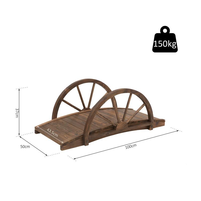 Ξύλινη Διακοσμητική Γέφυρα Κήπου 100 x 50 x 37 cm Outsunny 844-252