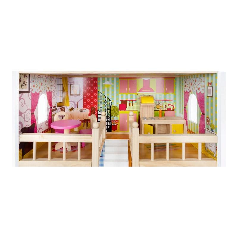 Ξύλινο Κουκλόσπιτο με LED Φωτισμό Πισίνα και Αξεσουάρ 58 x 59 x 90 cm Kruzzel 11251