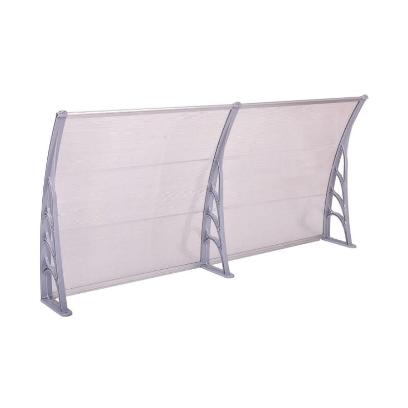Διπλό Πλαστικό Κιόσκι - Τέντα Πόρτας Εισόδου 240 x 90 cm Χρώματος Γκρι Hoppline HOP1000696-3