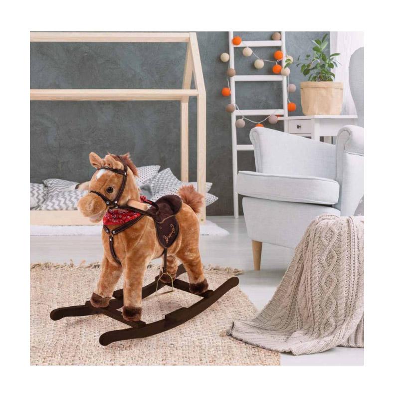 Λούτρινο Κουνιστό Αλογάκι με Ήχους Χρώματος Καφέ Ανοιχτό Hoppline HOP1001108-2