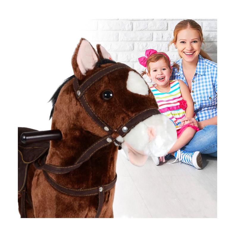 Λούτρινο Κουνιστό Αλογάκι με Ήχους Χρώματος Σκούρο Καφέ Hoppline HOP1001108-1