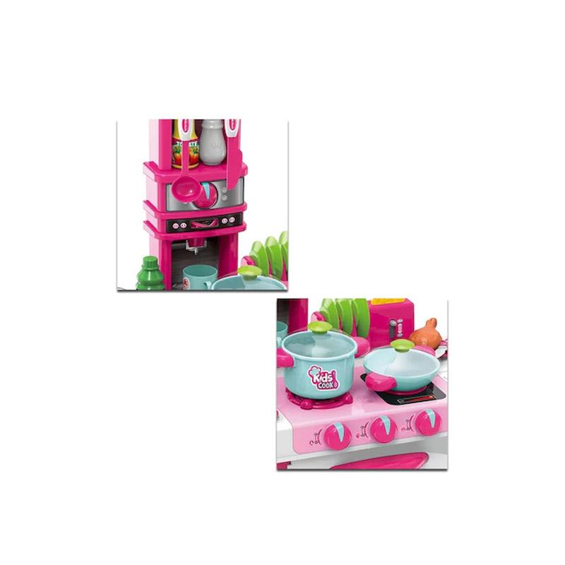 Παιδική Κουζίνα 78 x 29 x 87 cm με Αξεσουάρ Χρώματος Ροζ Hoppline HOP1001149-1