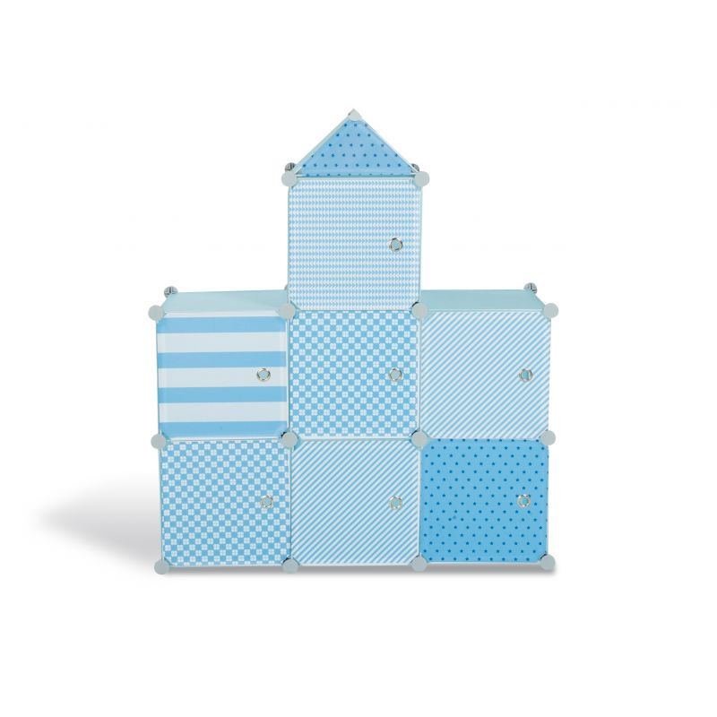 Σύστημα Αποθήκευσης - Ντουλάπα με 7 Κύβους 94.5 x 32 x 109 cm Χρώματος Μπλε Idomya 30012233