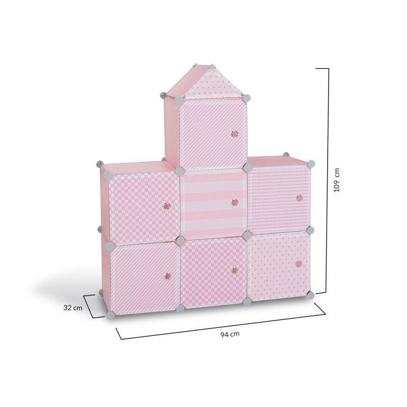 Σύστημα Αποθήκευσης - Ντουλάπα με 7 Κύβους 94.5 x 32 x 109 cm Χρώματος Ροζ Idomya 30012234