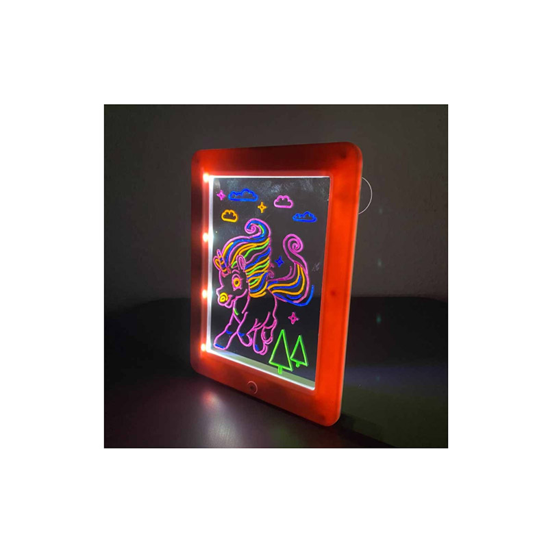 Μαγικός Φωτεινός Πίνακας Ζωγραφικής με Γυαλιά 3D Μονόκερος TimelessTools HOP1001148-3