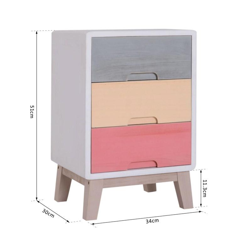 Ξύλινο Έπιπλο - Συρταριέρα με 3 Συρτάρια 34 x 30 x 51 cm HOMCOM 831-231