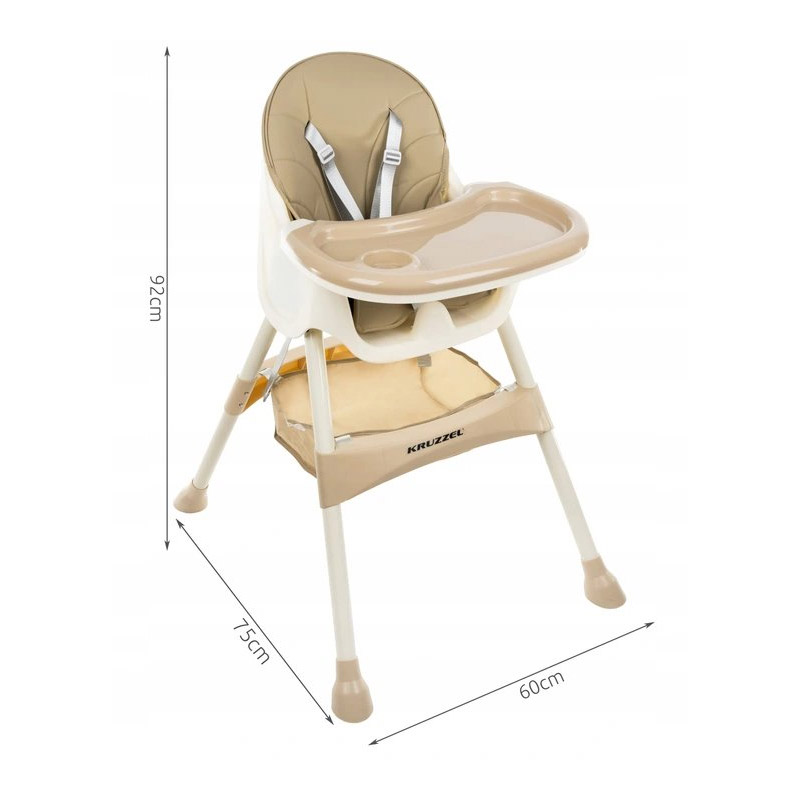 Παιδικό Κάθισμα Φαγητού 3 σε 1 Χρώματος Μπεζ Kruzzel 12060