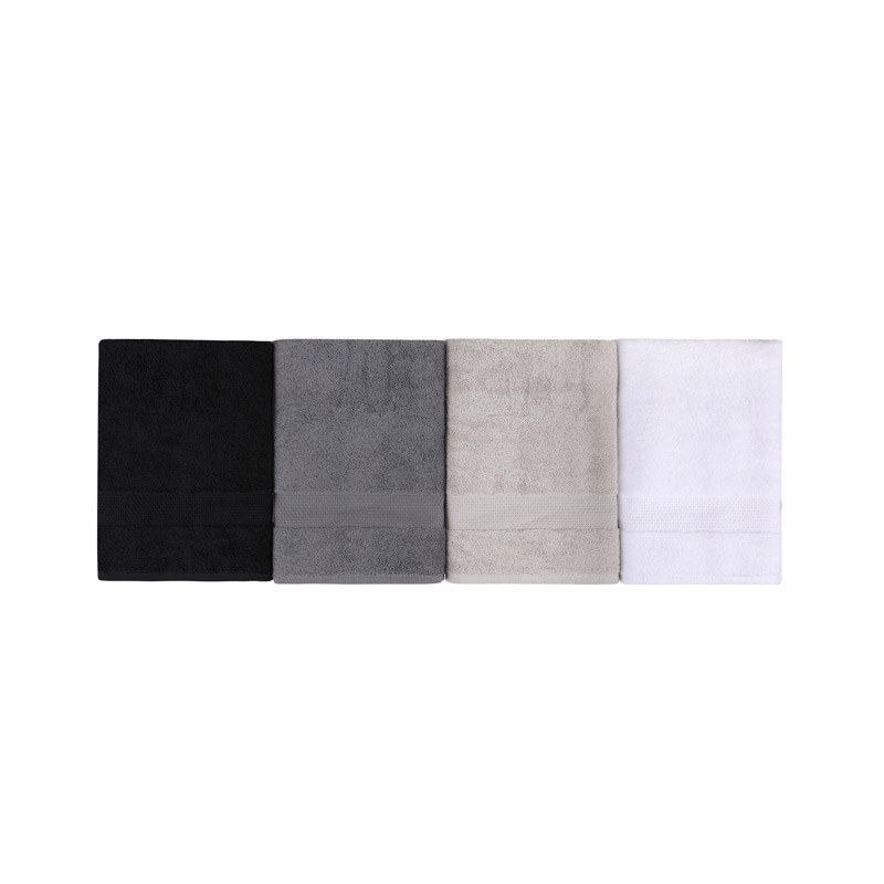 Σετ με 4 Πετσέτες Μπάνιου 70 x 140 cm Χρώματος Μαύρο - Λευκό - Γκρι - Καφέ Beverly Hills Polo Club 355BHP2611