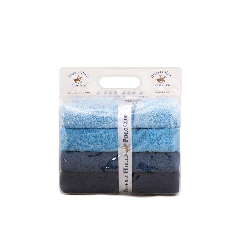 Σετ με 4 Πετσέτες Μπάνιου 70 x 140 cm Χρώματος Μπλε Beverly Hills Polo Club 355BHP2612