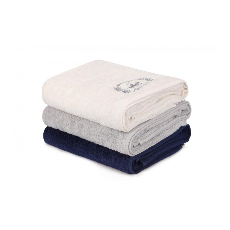 Σετ με 3 Πετσέτες Μπάνιου 70 x 140 cm Χρώματος Λευκό - Γκρι - Navy Beverly Hills Polo Club 355BHP2461