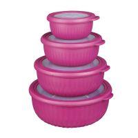 Σετ Πλαστικά Στρογγυλά Δοχεία Φαγητού με Καπάκια 4 τμχ Cook Concept KB5980