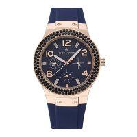 Γυναικείο Ρολόι Χρώματος Ροζ-Χρυσό με Μπλε Λουράκι Σιλικόνης και Κρύσταλλα Swarovski® Timothy Stone F-033-RGBL