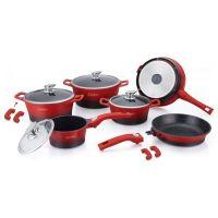 Σετ Μαγειρικών Σκευών με Αντικολλητική Μαρμάρινη Επίστρωση 14 τμχ Χρώματος Κόκκινο Royalty Line RL-ES2014M