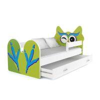 Ξύλινο Παιδικό Μονό Κρεβάτι με Στρώμα και 1 Συρτάρι 163 x 85 cm Χρώματος Πράσινο Owl SPM JAN-BED160-3-O