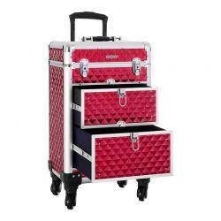 Βαλίτσα Μακιγιάζ 34 x 27 x 57 cm Χρώματος Κόκκινο Songmics JHZ08RD
