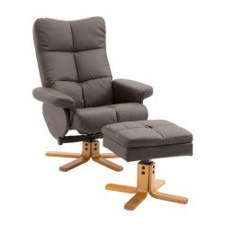 Ανακλινόμενη Πολυθρόνα με Υποπόδιο 80 x 99 x 86 cm Χρώματος Καφέ Σκούρο HOMCOM 833-359