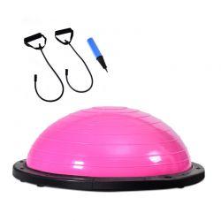 Μπάλα Ισορροπίας με Λάστιχα και Αντλία Αέρα 59 cm Χρώματος Ροζ Costway SP36170PI