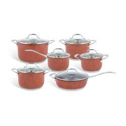 Σετ Μαγειρικών Σκευών από Ανοξείδωτο Ατσάλι 12 τμχ Χρώματος Κεραμιδί Edenberg EB-4045
