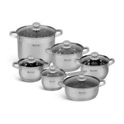 Σετ Μαγειρικών Σκευών από Ανοξείδωτο Ατσάλι με Γυάλινα Καπάκια 12 τμχ Edenberg EB-4020