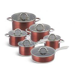 Σετ Μαγειρικών Σκευών από Ανοξείδωτο Ατσάλι με Γυάλινα Καπάκια 12 τμχ Χρώματος Χάλκινο Edenberg EB-4054
