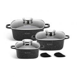 Σετ Μαγειρικών Σκευών με Γυάλινα Καπάκια 8 τμχ Edenberg EB-8141