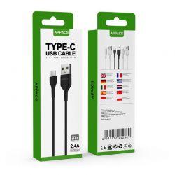 Καλώδιο USB to Lightning 1m Χρώματος Μαύρο APPACS U11-Black