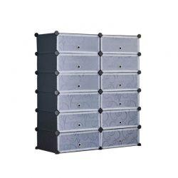 Stand Αποθήκευσης 24 Ζευγαριών Παπουτσιών 92 x 36 x 105 cm Χρώματος Μαύρο Hoppline HOP1001016-1