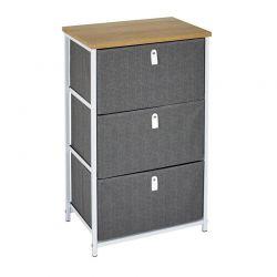 Μεταλλική Συρταριέρα με 3 Υφασμάτινα Συρτάρια 45 x 30 x 72 cm Home Deco Factory HD7172