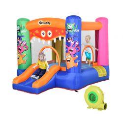Παιδικό Φουσκωτό Σπίτι - Τραμπολίνο με Τσουλήθρα και Μπασκέτα 290 x 200 x 155 cm Outsunny 342-021V90