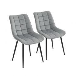 Σετ Μεταλλικές Καρέκλες με Βελούδινη Επένδυση 46 x 58.5 x 85.5 cm Χρώματος Γκρι 2 τμχ HOMCOM 835-283GY