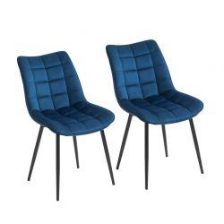 Σετ Μεταλλικές Καρέκλες με Βελούδινη Επένδυση 46 x 58.5 x 85.5 cm Χρώματος Μπλε 2 τμχ HOMCOM 835-283BU