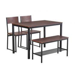 Σετ Μεταλλικό Ορθογώνιο Τραπέζι 110 x 70 x 76 cm με 2 Καρέκλες και 1 Πάγκο HOMCOM 835-371