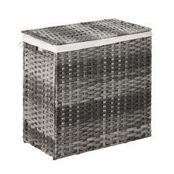 Πτυσσόμενο Καλάθι Απλύτων από Ρατάν με 2 Χώρους 57 x 34 x 60 cm Outsunny 865-006GY