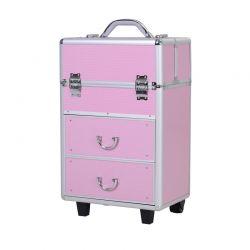 Βαλίτσα Μακιγιάζ Τρόλεϊ Αλουμινίου Χρώματος Ροζ HOMCOM 501-009PK