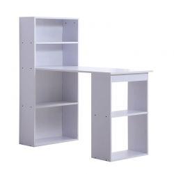 Ξύλινο Γραφείο με Βιβλιοθήκη 120 x 55 x 120 cm Χρώματος Λευκό HOMCOM 836-069WT