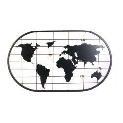 Μεταλλικό Διακοσμητικό Πλέγμα Τοίχου Παγκόσμιος Χάρτης 60 x 35 cm Home Deco Factory MO1311
