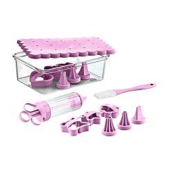 Σετ Εργαλείων Ζαχαροπλαστικής για Cookies 15 τμχ Χρώματος Μωβ Herzberg HG-CK127-Purple