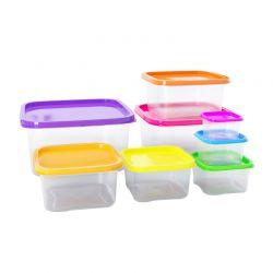 Σετ Πλαστικά Δοχεία Φαγητού με Χρωματιστά Καπάκια 8 τμχ Herzberg HG-SFS8N1