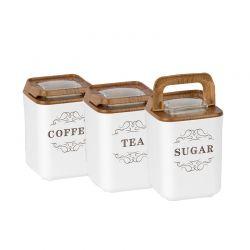 Σετ Πλαστικά Δοχεία Ζάχαρης - Καφέ - Τσάι 3 τμχ Herzberg HG-OKY237