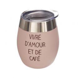 Κούπα Θερμός για Καφέ Εσπρέσο από Ανοξείδωτο Ατσάλι με Καπάκι 250 ml Χρώματος Ροζ Cook Concept KA4654