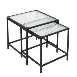 Σετ Βοηθητικά Μεταλλικά Τετράγωνα Τραπέζια Nesting 45 x 50 cm 2 τμχ Home Deco Factory HD7195