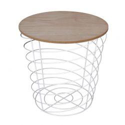 Βοηθητικό Μεταλλικό Στρογγυλό Τραπέζι 40 x 40.5 cm Χρώματος Λευκό Home Deco Factory HD7200