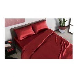 Σετ Παπλωματοθήκη με Μαξιλαροθήκη και Σεντόνι Σατέν 200 x 135 + 30 cm Μονή Χρώματος Κόκκινο SPM 30101019